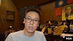 抗議學生領導人林飛帆(美國之音 申華拍攝)