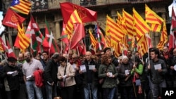 Pro-independence demonstrators of Catalonia and Basque