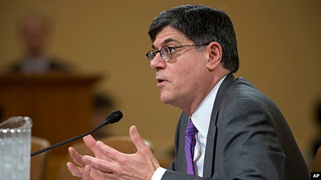 U.S. Treasury Secretary Jack Lew testifies on Capitol Hill in Washington, April 11, 2013.