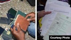 Parte de los pasaportes confiscados en una falsa embajada de Estados Unidos que fue cerrada en Accra Ghana. Fotos Cortesía del Departamento de Estado.