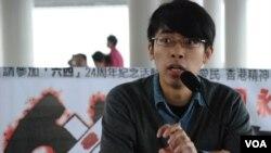 香港專上學生聯會秘書長陳樹暉表示,北京對香港普選預設前提,會令更多香港人走向公民抗命 (湯惠芸拍攝)