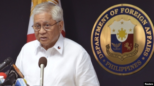 Philippine Foreign Affairs Secretary Albert Del Rosario has asked an international tribunal to intervene in its long-standing South China Sea territorial dispute with China, January 22, 2013.