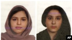 Two undated photos provided by the New York City Police Department (NYPD) show sisters Rotana, left, and Tala Farea, whose fully clothed bodies, bound together with duct tape and facing each other, were discovered on New York City's Hudson River waterfro