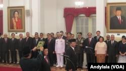 Kepala BNPT Tito Karnavian saat pengambilan sumpah jabatan di Istana Negara Jakarta, Rabu, 16 Maret 2016. (Foto:VOA/Andylala).