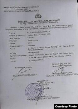Berkas laporan pengaduan masyarakat ke Polda Bali. (Foto: Rico AP)