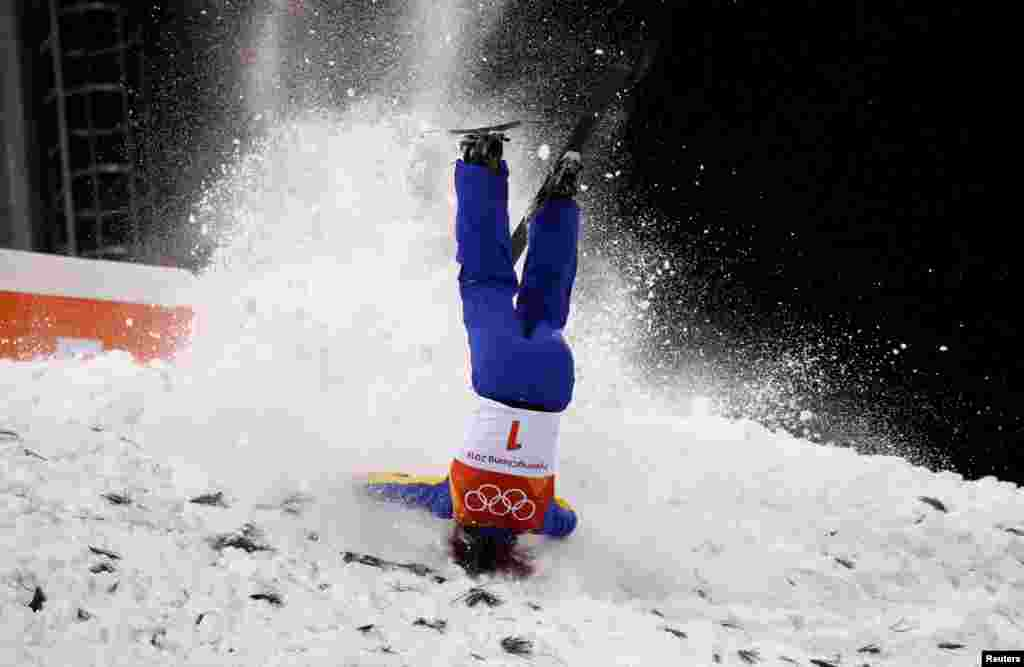 Xu Mengtao of China crashes during the women's aerials finals at Phoenix Snow Park at the 2018 Winter Olympics in Pyeongchang, South Korea.