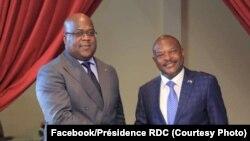 Présidence Félix Tshisekedi ya RDC na mokokani wa ye ya Burundi Pierre Nkurunziza na bokutani na Bujumbura, le 14 juin 2019. (Facebook RDC)