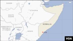 Peta lokasi kota Jilib di Somalia selatan