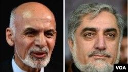 Hai ứng cử viên dẫn đầu kết quả kiểm phiếu, ông Abadullah Abdullah (phải) và Ashraf Ghani