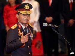 Kapolri Idham Aziz setelah upacara pelantikan di Jakarta, 1 November 2019. (Foto: AP)