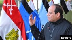 Abdel Fattah Al-Sissi lors d'un discours à l'académie militaire du Caire, le 18 février 2018