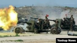 북한 군이 20일 서부전선에서 한국 군을 향해 포격을 가해 한국 군이 대응 포격을 했다. 사진은 북한 군이 사용한 것으로 알려진 고사포.