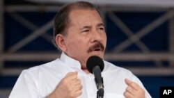 FILE - Nicaragua's President Daniel Ortega speaks during a ceremony in Managua, July 5, 2013.