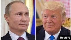 A combination photo shows Russian President Vladimir Putin (L) at news conference at the Kremlin in Moscow, Russia, Jan. 17, 2017 and U.S. President Donald Trump at a reception in Riyadh, Saudi Arabia, May 20, 2017.