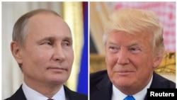 រូបថតបញ្ចូលគ្នារវាងប្រធានាធិបតីរុស្សី Vladimir Putin និងប្រធានាធិបតីសហរដ្ឋអាមេរិក Donald Trump។
