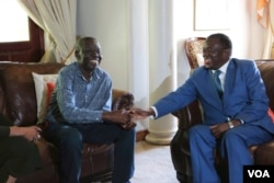 FILE: President Emmerson Mnangagwa meeting with Morgan Tsvangirai at the opposition MDC-T leader's house last Friday before Tsvangirai left for South Africa for medical purposes.