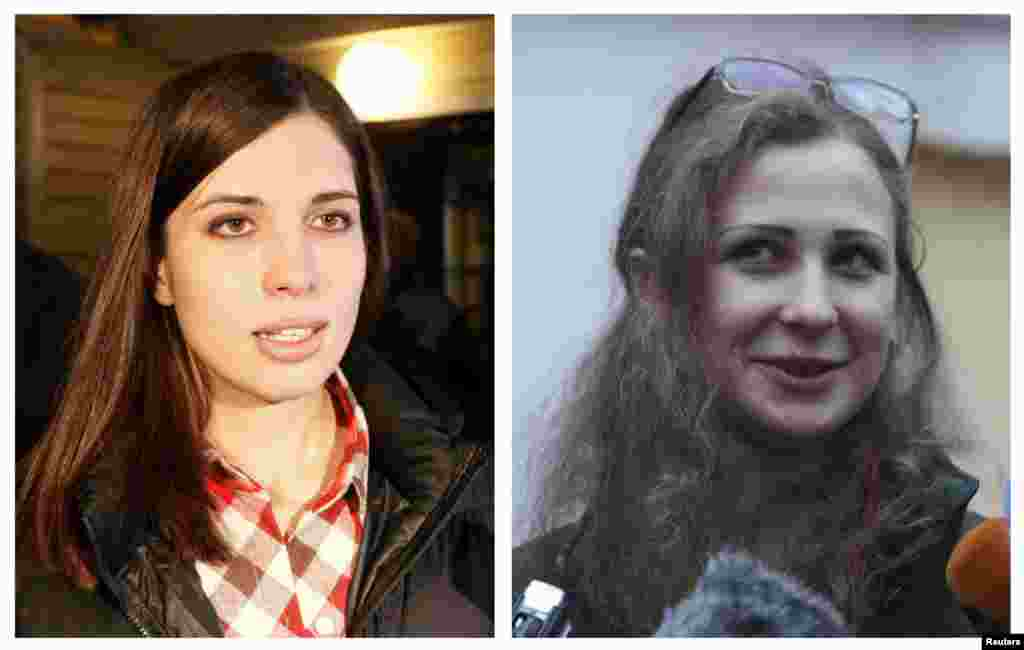A combination photo shows Pussy Riot members Nadezhda Tolokonnikova (L) and Maria Alyokhina (R) speaking to the media after they were released from prison, Dec. 23, 2013.