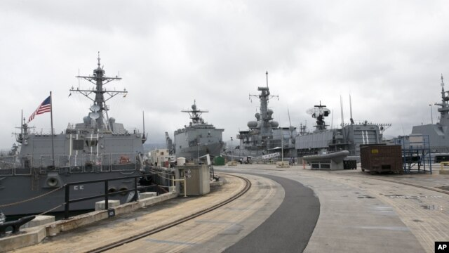 Naval ships from various countries are docked at Hawaii's Joint Base Pearl Harbor-Hickam, Oahu, Hawaii, July 5, 2014.