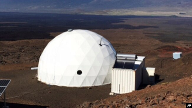 In this photo provided by the University of Hawaii, six carefully selected scientists entered this geodesic dome called Hawaii Space Exploration Analog and Simulation, or HI-SEAS located 8,200 feet above sea level on Mauna Loa on the island of Hawaii.
