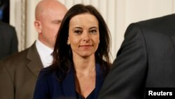 FILE - U.S. Deputy National Security Advisor for Strategy Dina Powell arrives to attend a joint news conference with Germany's Chancellor Angela Merkel and U.S. President Donald Trump in the East Room of the White House in Washington, March 17, 2017.