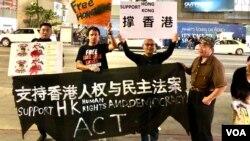 """中国民主党洛杉矶集会,支持美国国会""""香港人权与民主法案"""",支持者在好莱坞大道的繁华地带(美国之音雨舟)"""
