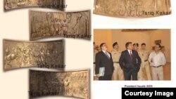 پخوانی صدر پرویز مشرف صدارتي ماڼۍ کې د طارق کاکړ د فن ننداره کوي