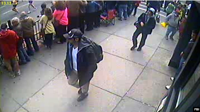 One of the photos released by the FBI on April 18, 2013 of two suspects in the Boston Marathon bombings.