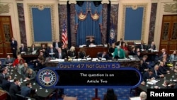 U.S. senators cast votes in Trump impeachment trial at the U.S. Capitol in Washington, D.C. February 5, 2020. U.S. Senate TV/Handout via Reuters