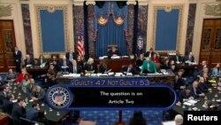 Senatori glasaju na završetku suđenja predsjedniku Trampu u Vašingtonu.