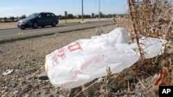 In this file photo taken on Oct. 25, 2013, a plastic shopping bag liters the roadside in Sacramento, Calif. (AP Photo/Rich Pedroncelli)