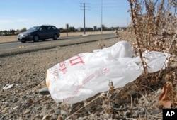 FILE - A plastic shopping bag lies along a road in Sacramento, Calif.