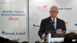 蒂勒森国务卿在大西洋理事会与韩国基金会联合举办的研讨会上讲话。(2017年12月12日)