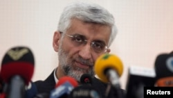 Iran's chief negotiator, Saeed Jalili, attends a news conference at the Iranian Consulate in Istanbul, Turkey, May 16, 2013.