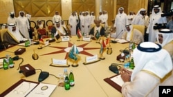 Foreign Ministers of the Arabian Gulf states participate in a Gulf Cooperation Council (GCC) meeting in Doha, April 17, 2012