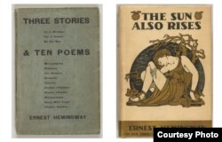 Left: Three Stories & Ten Poems, [Paris]: Contact Publishing Co., 1923, Right: The Sun Also Rises, New York: Charles Scribner's Sons, 1926, Both from The Carter Burden Collection of American Literature, The Morgan Library & Museum, Photography by Graham S. Haber, 2014.