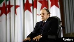 FILE - President Abdelaziz Bouteflika looks on during a swearing-in ceremony in Algiers, Algeria.