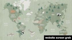 H&M銷售的印有世界地圖的帆布地毯(圖片來自公司網站)
