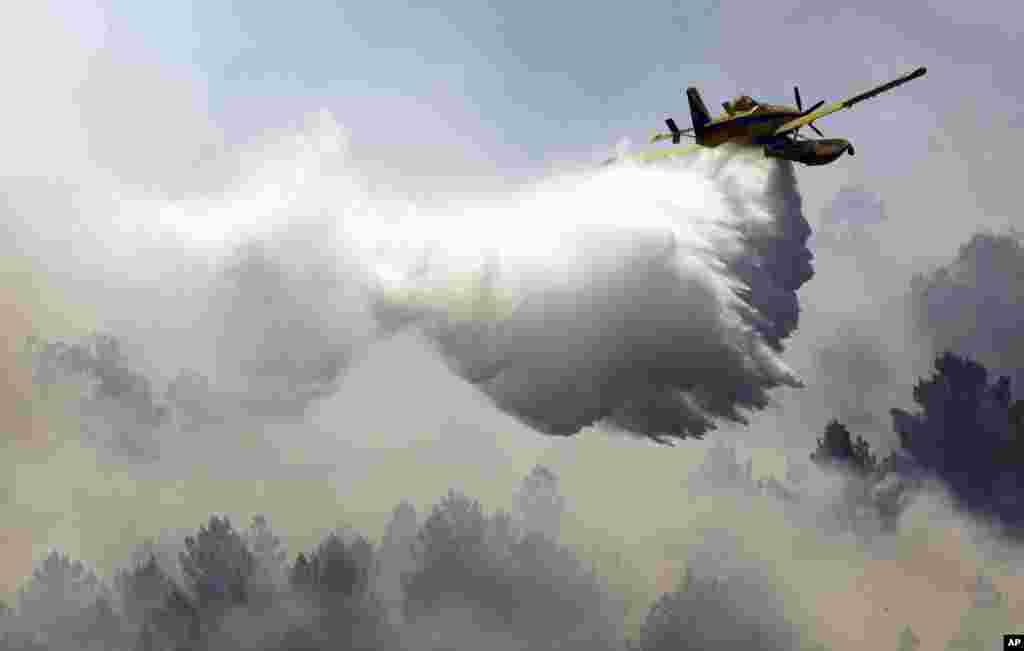 فرونشاندن آتش با پاشیدن آب توسط هواپیمای مجهز به مواد ضدحریق در جنگلی در پرتغال