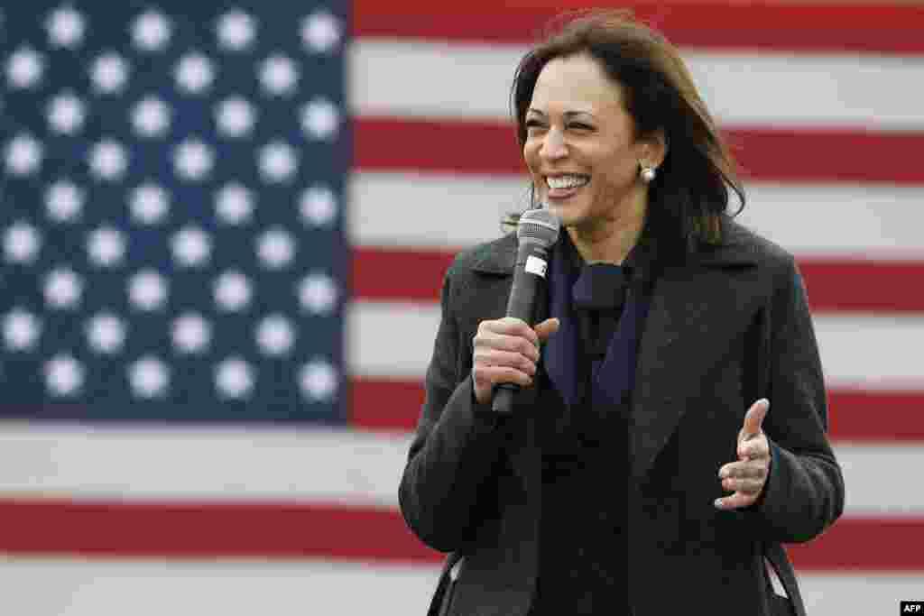 'Yar Democrat mataimakiyar shugaban kasar Amurka Kamala Harris ta na magana a lokacin kamfen na zaben shugaban kasa a birnin Washington, DC.