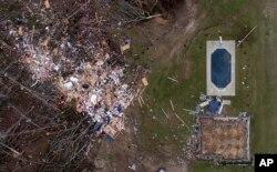 شهر «بیورگارد» در شرق ایالت آلاباما پس از گردباد کشنده- ۴ مارس ۲۰۱۹