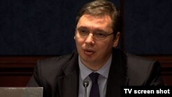 Potpredsednik Vlade Srbije Aleksandar Vučić govori na skupu na Kapitol hilu