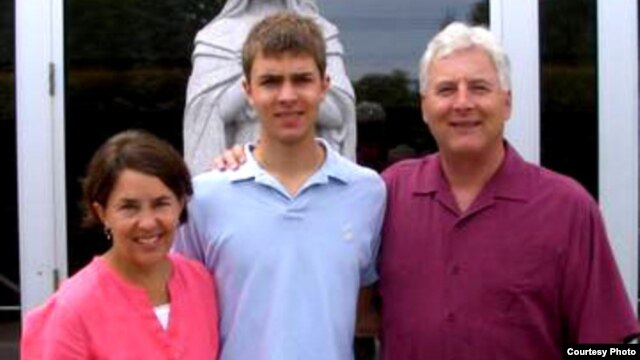 This photo of Benjamin Stassen and his parents, Alice and Jay, was taken shortly before his suicide. His parents are trying to access various social media and email accounts to find clues as to why he took his life. (Courtesy Alice and Jay Stassen)