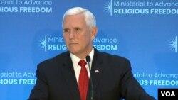معاون رئیس جمهوری آمریکا بخشی از سخنانش را در نشست پیشبرد آزادی مذهبی به ایران اختصاص داد.