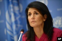 "U.S. Ambassador Nikki Haley said the Trump administration wants ""proof"" from Sudan's government that it is making progress toward peace and protecting civilians in its vast and troubled Darfur region. Haley addressed the Security Council, April 4, 2017."
