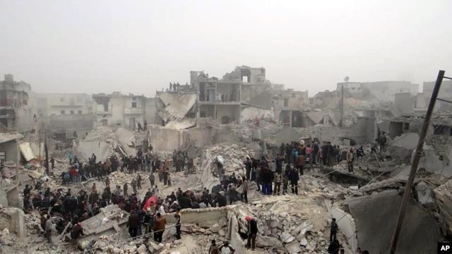 Khu Jabal Bedro trong thành phố Aleppo, Syria sau khi bị trúng phi đạn
