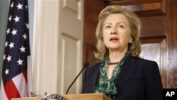 美國國務卿克林頓星期一 在美國國務院就本拉登之死發表聲明
