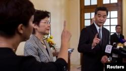Pemimpin eksekutif Hong Kong Leung Chun-ying di Gedung Pemerintah. (Foto: Dok)