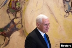 U.S. Vice President Mike Pence seen during a visit to the Knesset, Israeli Parliament, in Jerusalem, Jan. 22, 2018.