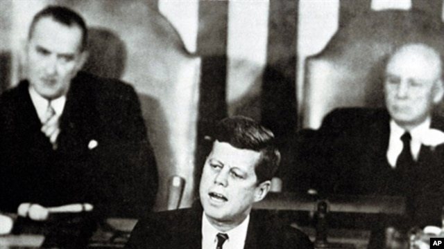 US President John Fitzgerald Kennedy gives a speech on the nation's space effort before a special session of Congress on May 25, 1961, announcing the goal of sending an American safely to the Moon before the end on the decade