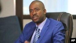 Nelson Chamisa Bindura, mu kiganiro n'abamenyeshamakuru, ku biro vyiwe i Harare, itariki 27/07/2018